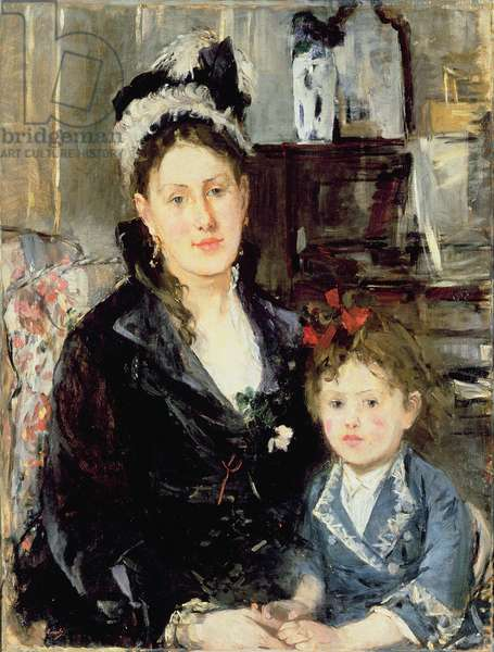 Mme Boursier and Her Daughter, 1873 (oil on canvas)
