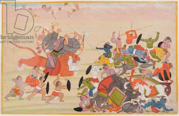 The Devi defeats Mahishasura, folio from a dispersed Devi Mahatmya series, c.1770-80 (w/c on paper)