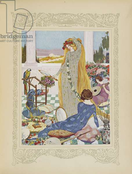Here all the women were eager to dress like a queen, illustration from 'Contes du Temps Jadis', or 'Tales from Times Past', p.18, 1912 (colour litho)