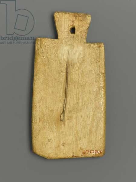 Mummy Tag with Greek Inscription (wood & pigment)