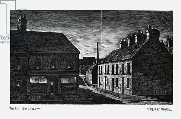 "Dusk - Belfast, from the portfolio ""Another Ireland"", 1977 (wood engraving)"