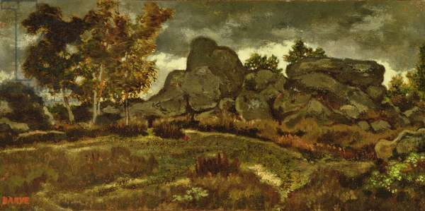 Forest at Fontainebleau (oil on canvas)