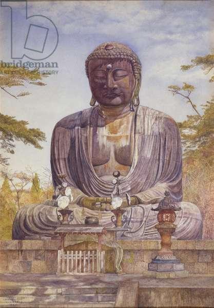 Daibutsu, Great Bronze Statue of Buddha at Kamakura, Japan (w/c on paper)