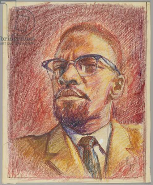 Malcolm X, c,1975 (crayon on paper)
