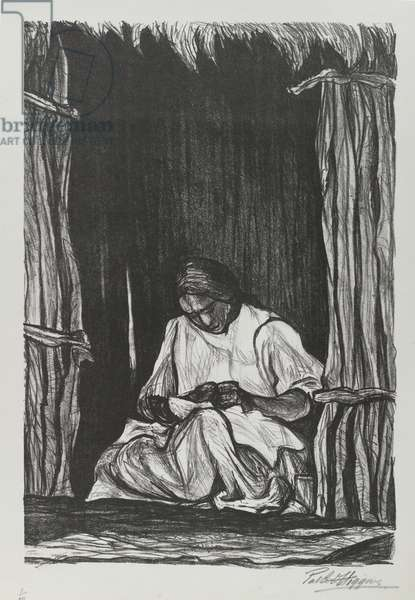 Seated Woman (litho on O.M. Fabriano white wove paper)