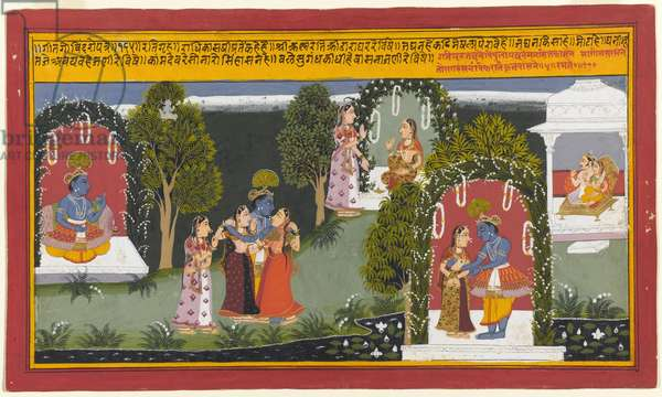 Kama and Rati Witness the Reunion of Krishna and Radha, Page from a Gita Govinda Series, 1714 (opaque w/c & gold on paper)