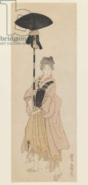 Young Woman Carries Adorned Pole for a Procession, c.1805-6 (woodblock print, narrow koban tate-e surimono-style printing)