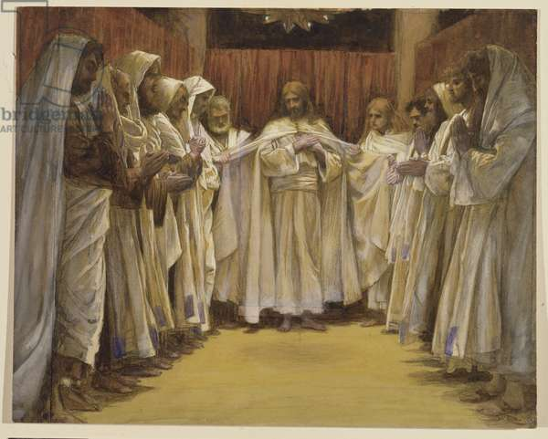 Christ with the twelve Apostles, illustration for 'The Life of Christ', c.1886-96 (gouache on paperboard)
