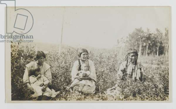 Untitled (Three Women Seated in a Field with Two Young Children), c.1900 (gelatin silver print)
