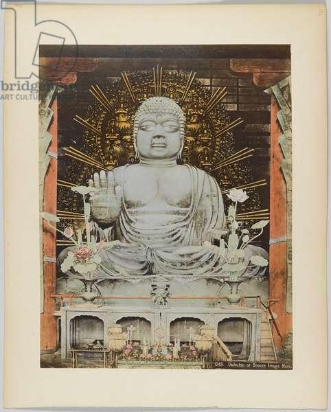 Daibutsu or Bronze Image, Nara, Japan (hand-coloured b/w photo)