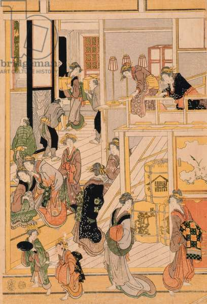 New Year's Day at the Teahouse Ogi-ya. c.1810 (colour woodblock print) (for set see 277796-277798)