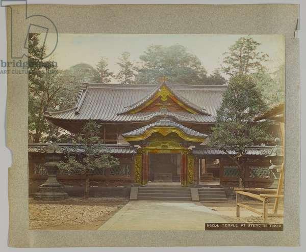 Temple at Uyeno, Tokyo, Japan (hand-coloured b/w photo)