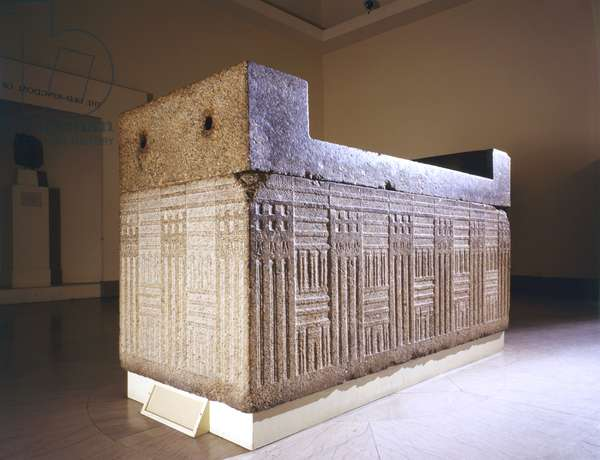 Sarcophagus with separate cover, from Giza, Egypt, Old Kingdom, c.2555-2532 BC (granite)