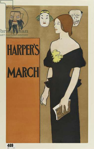 Poster advertising 'Harper's' magazine, March 1896 (colour litho)