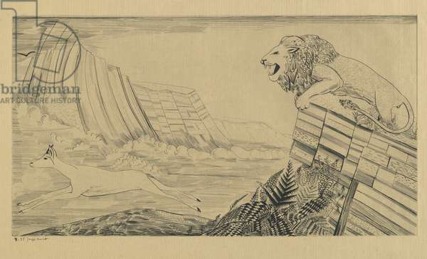 Lion and Gazelle, 1929 (engraving on wove paper)