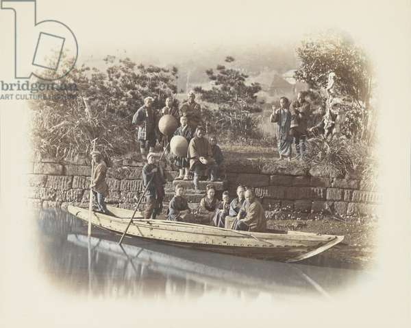 A boat at the riverbank, Japan (hand-coloured b/w photo)