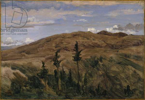 Mountains in Auvergne, 1841-42 (oil on paper mounted on canvas)
