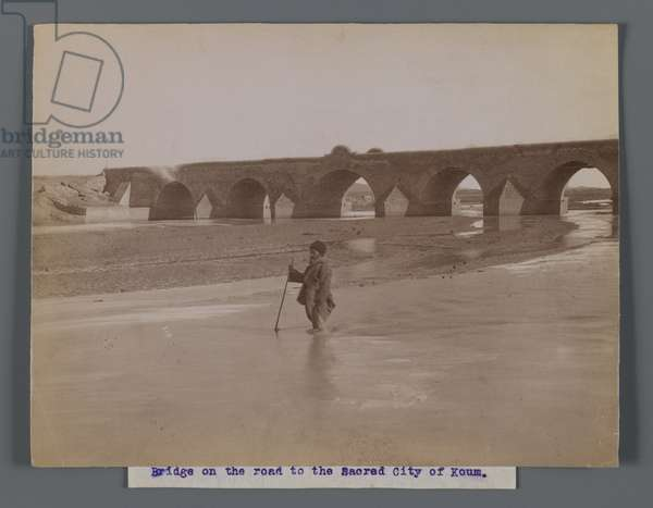 Bridge on the road to the sacred city of Koum, late 19th-early 20th century (b/w photo)