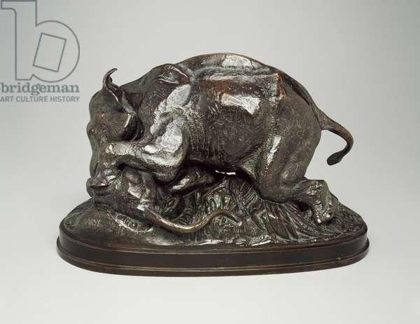 Elephant Crushing a Tiger (bronze)