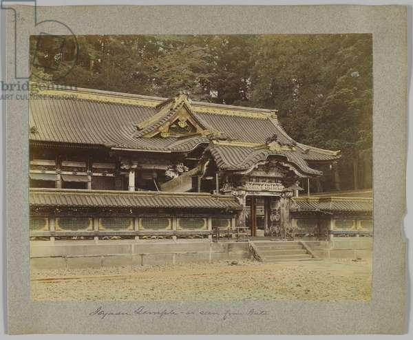 Tōshō-gū seen from the gate, Nikko, Japan (hand-coloured b/w photo)