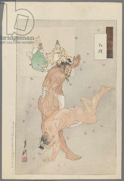 Wrestlers from the Series Gekko Zuihitsu, 1886 (woodblock colour print)