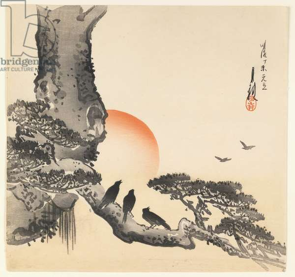 Crows on a Tree Trunk, Meiji Period, c.1890-1910 (colour woodblock print)