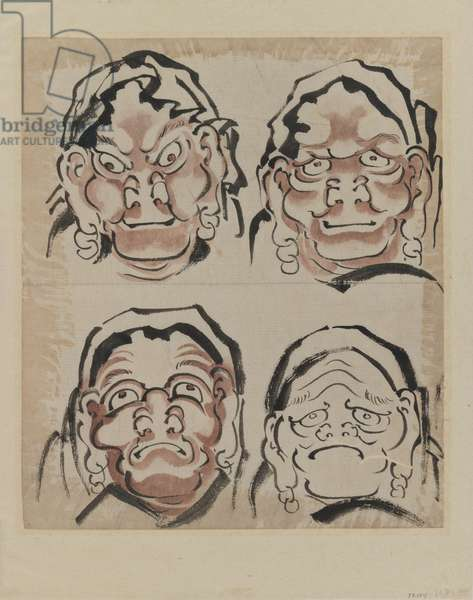 Sketch of Four Faces (ink on paper)