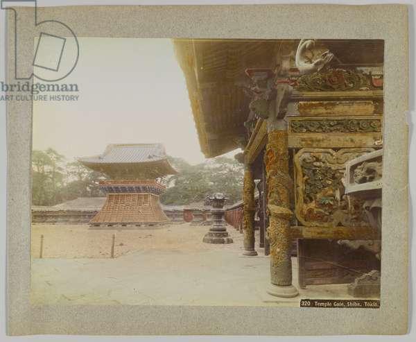 Temple Gate, Shiba Park, Tokyo, Japan (hand-coloured b/w photo)
