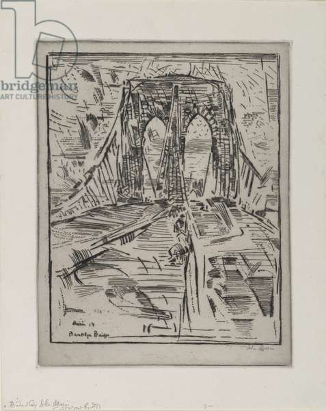 Brooklyn Bridge, 1913 (drypoint)