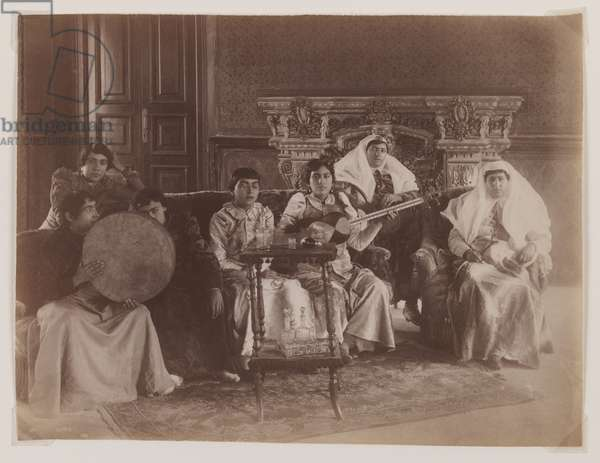 Group portrait of women playing musical instruments (silver albumen print)