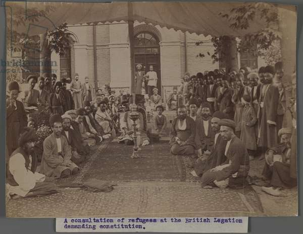 A Consultation of Refugees at the British Legation Demanding Constitution II (silver albumen photo)