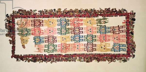 Mantle fragments, known as The Paracas Textile, Nazca Culture, 200-600 AD (cotton & wool)