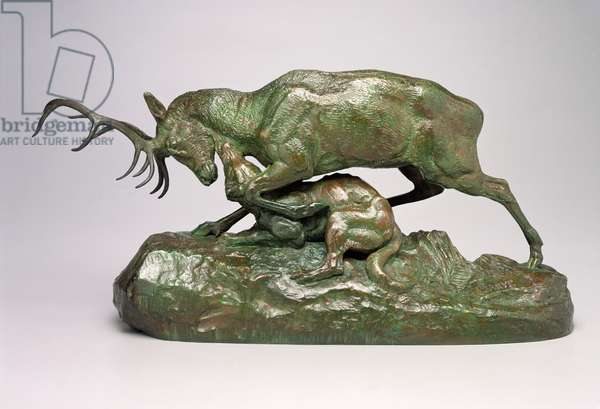 Wolf Holding a Stag by the Throat (bronze)