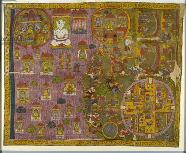 Jain pilgrimage, made in Rajasthan, c.1750 (opaque w/c & gold on cloth)