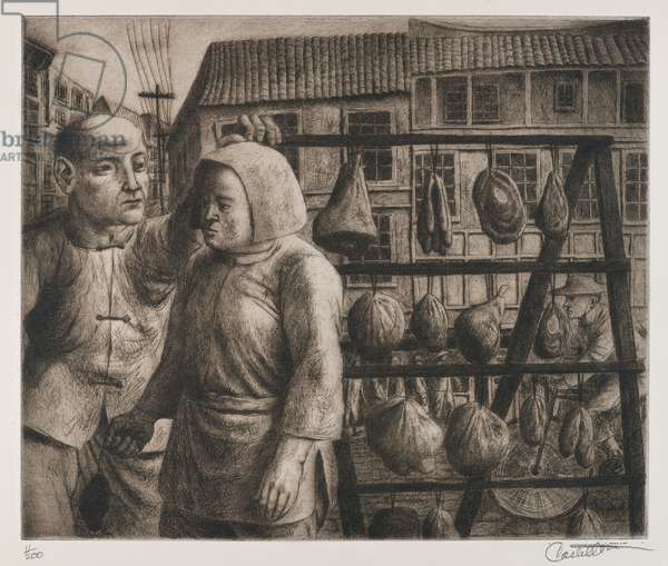 "Meat on Sale, from the portfolio ""China"", after 1945 (etching & aquatint)"