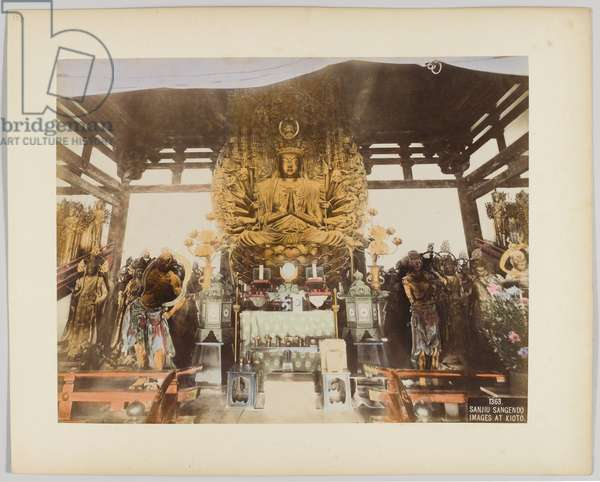 Sanjiu Sangendo images at Kyoto, Japan (hand-coloured b/w photo)