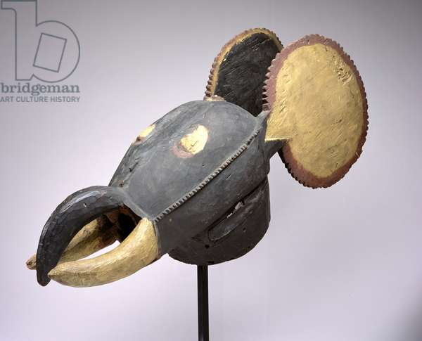 Elephant Mask, Baule Culture, from Ivory Coast, late 19th-early 20th century (wood with pigment)