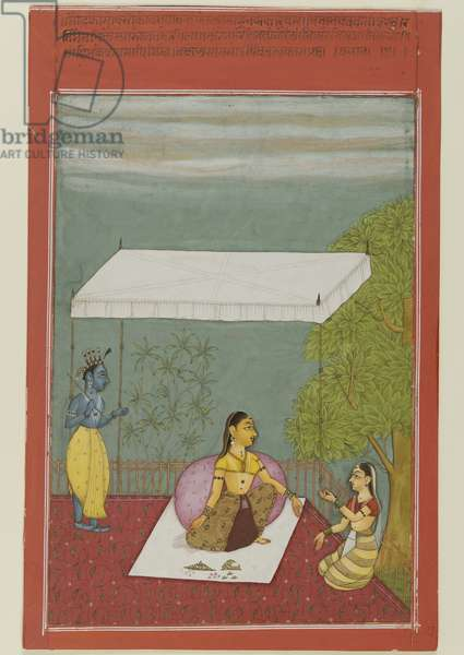 Nayika Awaits Her Lover, page from a series illustrating the Rasikapriya of Keshavadasa, 1692 (opaque w/c on paper)