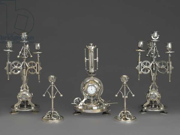 Clock, Part of a Five Piece Clock Garniture, c.1880 (silvered bronze, glass, paper)