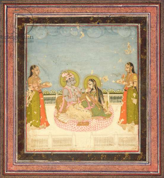 Krishna and Radha Seated on a Terrace, c.1760-75 (w/c, gold & silver on paper)