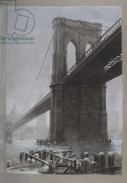 Brooklyn Bridge, 1985 (charcoal and pastel on paper)