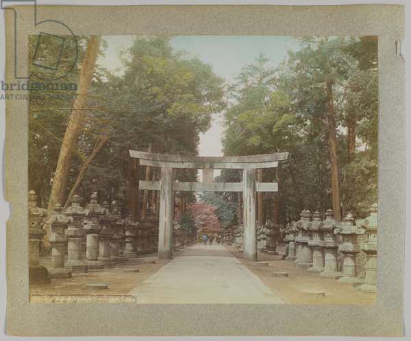 Entrance to a Temple in Uyeno Park, Tokyo, Japan (hand-coloured b/w photo)