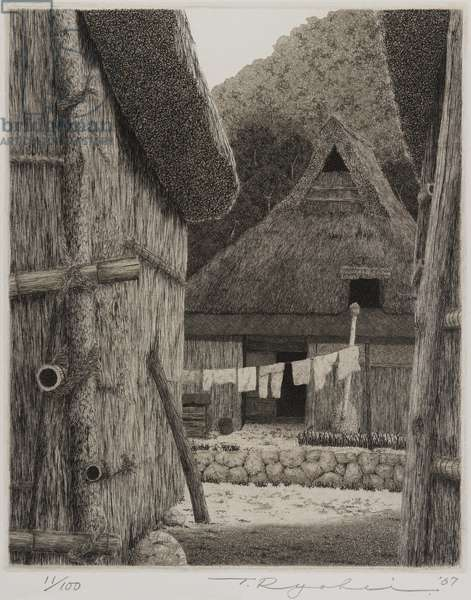 Untitled (village scene), 1967 (etching)