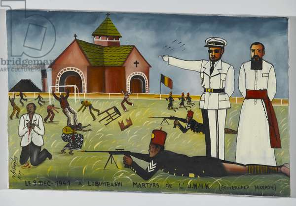 The Martyrs of the Union Minière du Haut Katanga at the Stadium Formerly Called 'Albert I', now 'Mobutu', Kenia Township, Lubumbashi, c.1975 (oil on fabric)