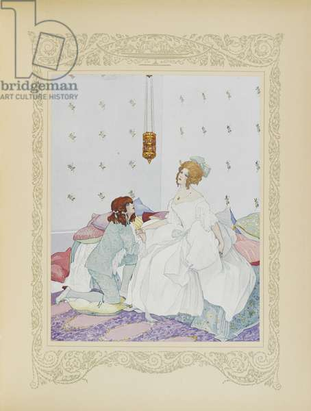 As soon as he recognised her, he threw himself at her feet, illustration from 'Contes du Temps Jadis', or 'Tales from Times Past', p.48, 1912 (colour litho)
