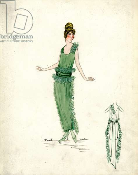 Evening Dress, Chanel, Spring 1919 (pencil & w/c on paper)