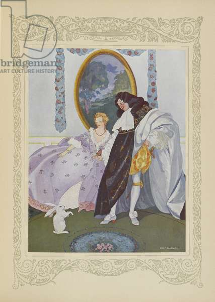 The king looked at the little rabbit, illustration from 'Contes du Temps Jadis', or 'Tales from Times Past', p.106, 1912 (colour litho)