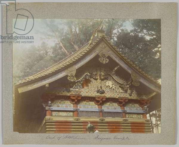 A storehouse at Tōshō-gū, Nikko, Japan (hand-coloured b/w photo)