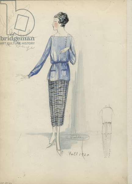 Day Ensemble, Chanel, Fall 1920 (pencil & w/c on paper)