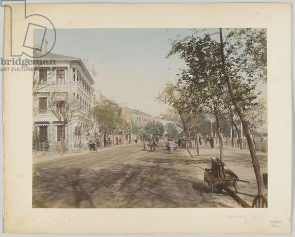 Street in Hong Kong, 1890s (hand-coloured b/w photo)
